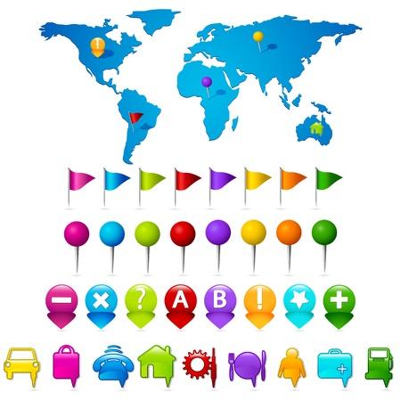 pushpins: Ilustraci�n del mapa del mundo con el conjunto de bot�n de indicador de gps