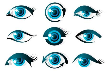 optometria: Ilustracja zestaw różnego kształtu oka na tle izolowane Ilustracja