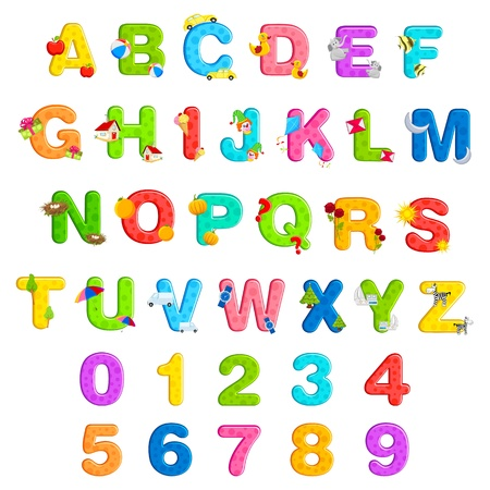 illustration of alphabet set with associate objects and number on isolated background Vector