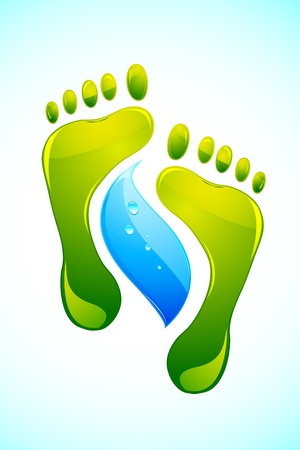 illustration of foot print with  drop of water on abstract background Vector