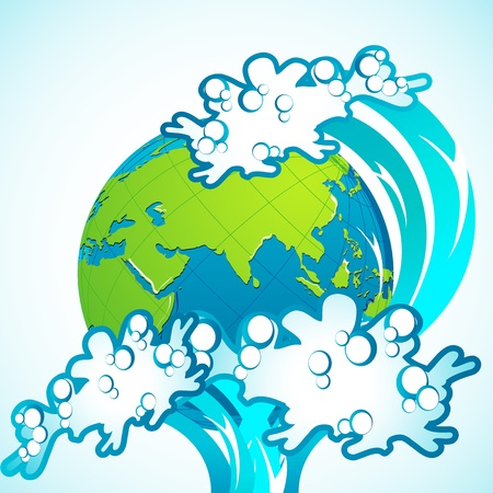 illustration of tsunami wave splashing on earth Stock Vector - 9227464
