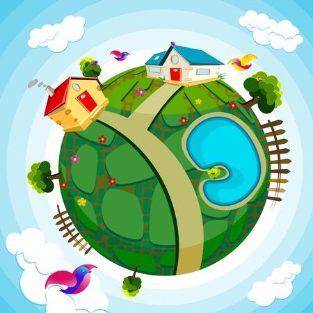 environnement entreprise: Illustration de la maison et de la rivi�re sur Terre verte