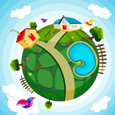 save earth: illustration of house and river on green earth