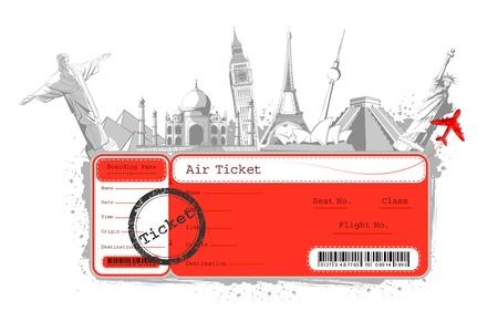billets d avion: Illustration du billet de vol avec un monument c�l�bre dans le monde entier