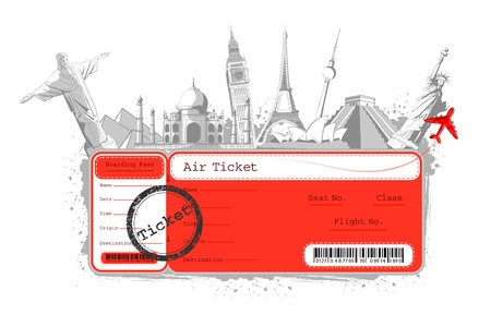 pass: illustration of flight ticket with famous monument around the world