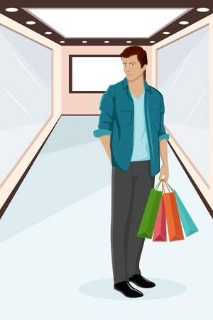 happy shopper: illustration of  urban guy standing with shopping bag Illustration