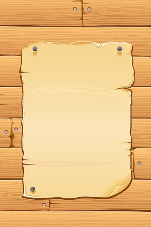 illustration of blank antique paper on wooden wall Stock Vector - 9227507