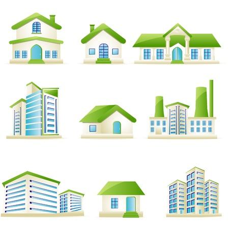 illustratie van de reeks van architectonisch gebouw op zichzelf staande witte achtergrond