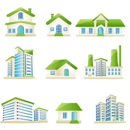 housing estate: illustration of set of architectural building on isolated white background Illustration
