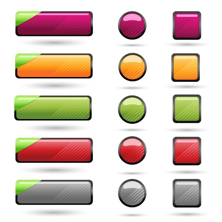 illustration of set of blank button for web on isolated background Vector