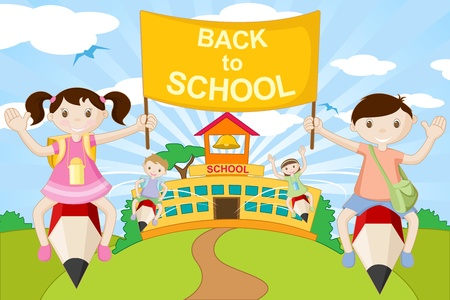 illustration of kids flying on pencil going to school illustration