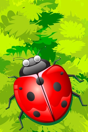 illustration of lady bug sitting on bunch of leaves Vector