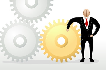 illustration of business man standing with cog wheel Stock Vector - 9252353