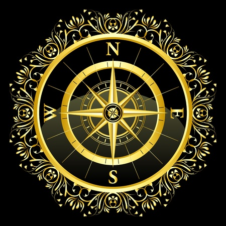 magnetic north: illustration of floral compass on black background Illustration