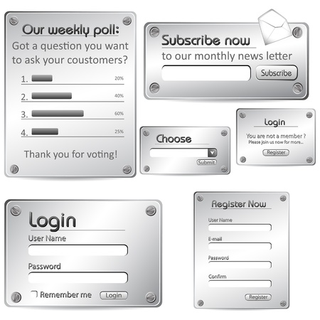 subscribe: illustration of set of web form templates in metallic look on isolated background