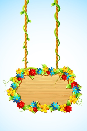 illustration of hanging wooden board decorated with flower Vector