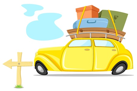 mileage: illustration of car loaded with luggage going for trip Illustration