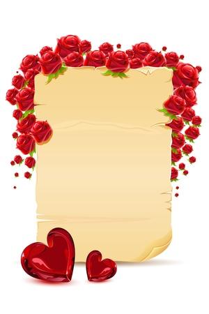 truelove: illustrazione di amore card con rosa e cuore su sfondo bianco Vettoriali