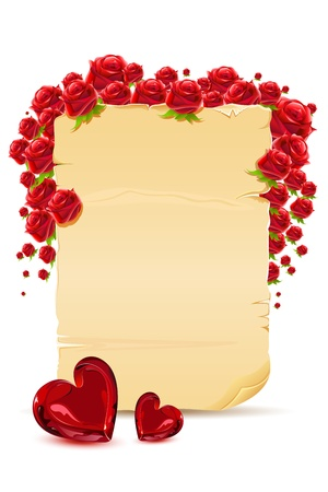 Ilustraci�n de la tarjeta de amor con rose y coraz�n sobre fondo blanco