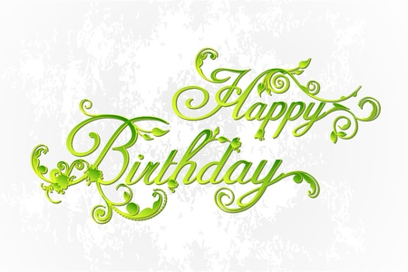 happy birthday text: illustration of happy birthday with floral swirls on abstract background