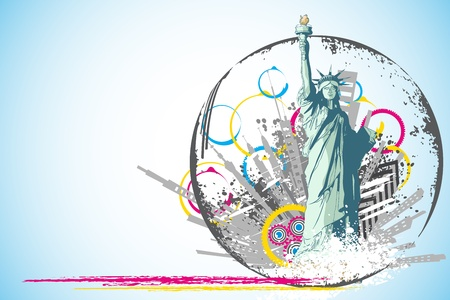 lady justice: illustration of statue of liberty on abstract city scape background