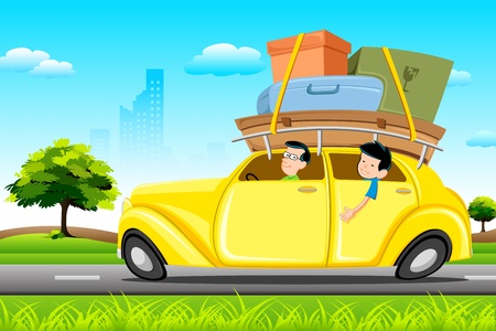 family trip: illustration of family in car loaded with luggage going for trip