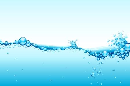 agua: Ilustraci�n de bienvenida de agua sobre fondo azul Vectores