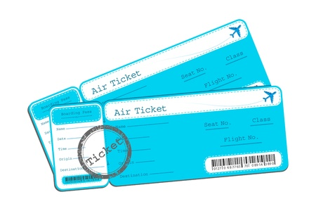 illustration of flight ticket on isolated background illustration