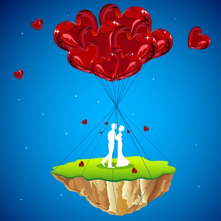 lovers kissing: illustration of couple kissing on love land hanging with heart balloon