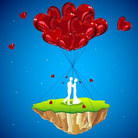 truelove: illustrazione della coppia baci sulla terra amore appeso con palloncino di cuore Vettoriali