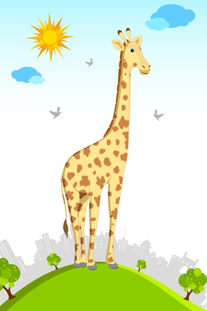 illustration of giraffe standing on grassland with cityscape background Vector