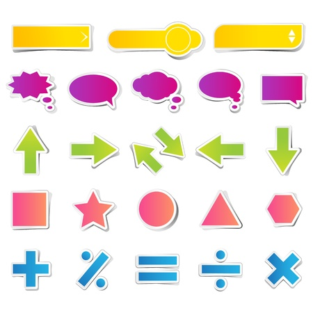 percentage sign: illustration of set of different type of button for web on white background Illustration