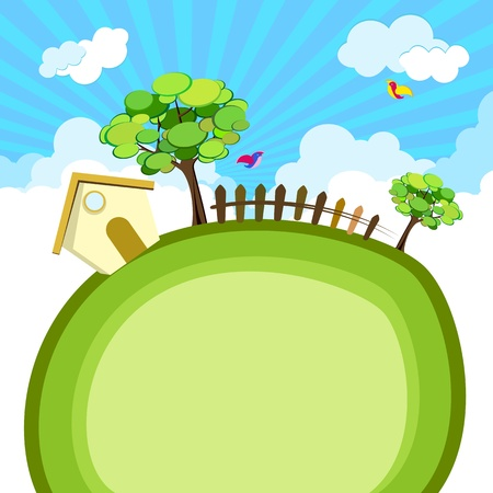 illustration of house with tree and fence on green earth Illustration