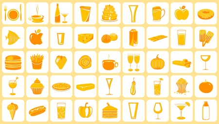 illustration of set of food icon on plain background Stock Vector - 9321201