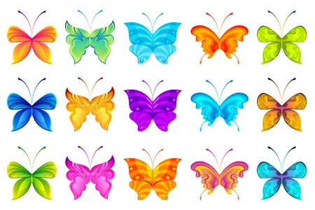 tiny: illustration of set of colorful butterflies on isolated background