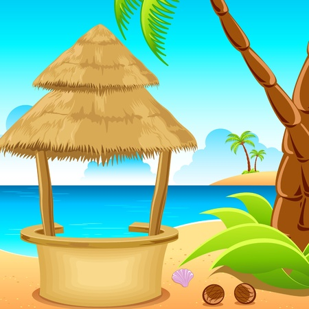 illustration of straw hut on lonely beach with coconut tree..