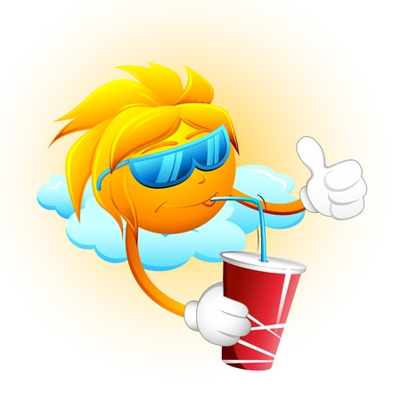 illustration of sun sitting on cloud drinking cold drink