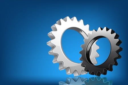 illustration of pair of cog wheel on abstract background Vector