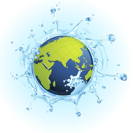 natural disaster: illustration of earth in splash of water on watery background