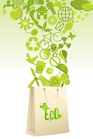 recycle symbol: illustration of recycle items coming out of shopping bag Illustration