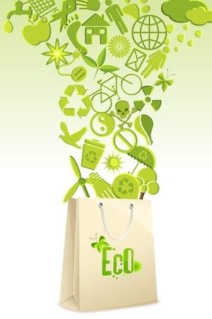 reciclar vidrio: Ilustraci�n de reciclar elementos que sale de la bolsa de compras