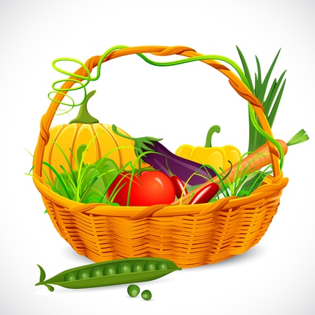garden peas: illustration of vegetable in basket on abstract background