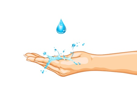wash hands: illustration of hand saving water on isolated background Illustration
