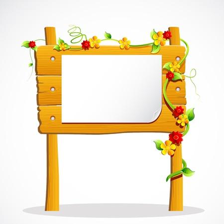 wooden post: Ilustraci�n de un tabl�n de madera decorado con flores