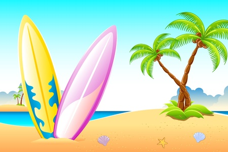 illustration of surf boards on sea beach with palm trees illustration