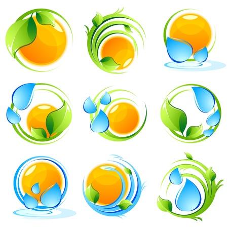 saubere luft: Abbildung der Satz von Icon mit Sonne, Baum und Wasser