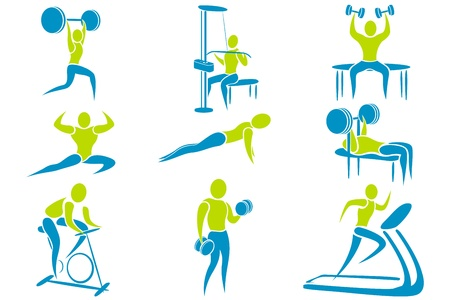 fitness icon: illustration of set of icon showing different gym activity