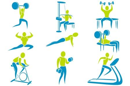 gym equipment: illustrazione del set di icona mostrando attivit� diverse palestra