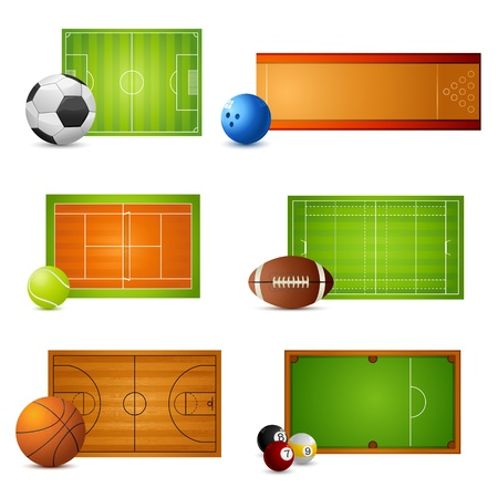illustration of balls with court of different sports on white background Stock Vector - 9348497