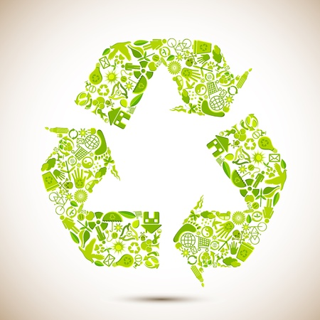 eco icon: illustration of recycle symbol formed by many recycle item